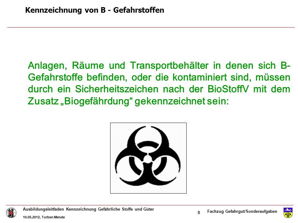 Fachzug Gefahrgut/Sonderaufgaben Ausbildungsleitfaden Kennzeichnung Gefährliche Stoffe und Güter 10.05.2012, Torben Mende 19 Kennzeichnung von Transportfahrzeugen