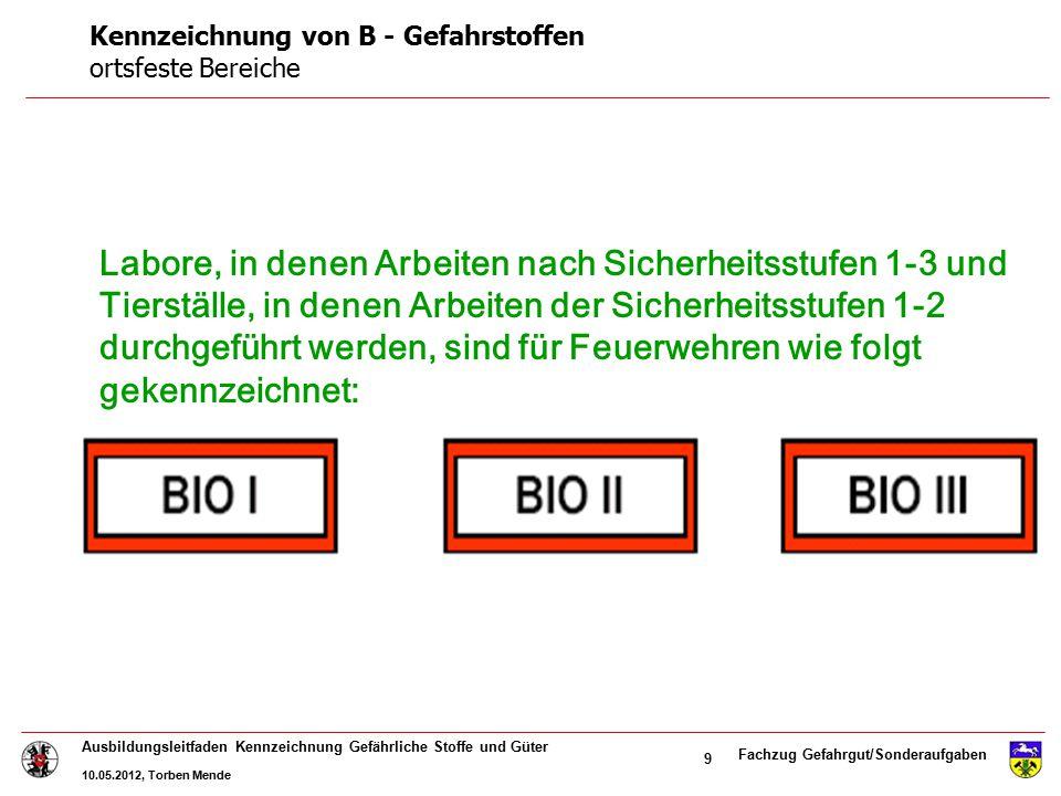 Fachzug Gefahrgut/Sonderaufgaben Ausbildungsleitfaden Kennzeichnung Gefährliche Stoffe und Güter 10.05.2012, Torben Mende 9 Labore, in denen Arbeiten