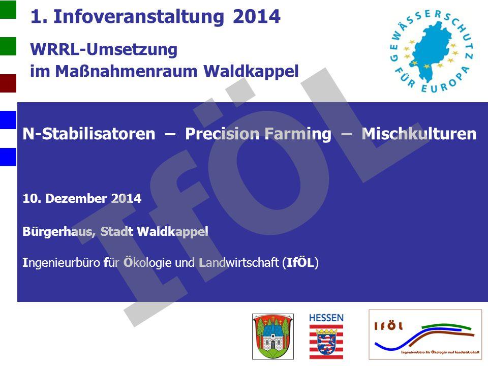 1. Infoveranstaltung 2014 WRRL-Umsetzung im Maßnahmenraum Waldkappel N-Stabilisatoren – Precision Farming – Mischkulturen 10. Dezember 2014 Bürgerhaus