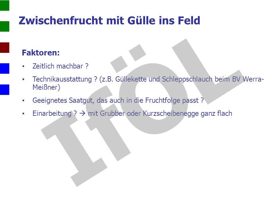 Zwischenfrucht mit Gülle ins Feld Faktoren: Zeitlich machbar ? Technikausstattung ? (z.B. Güllekette und Schleppschlauch beim BV Werra- Meißner) Geeig