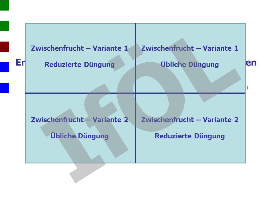 Entwicklung der Sommerung nach unterschiedlichen Zwischenfrüchten  N min -Beprobung zur Ermittlung der N-Freisetzung aus den ZF-Varianten  Beurteilu