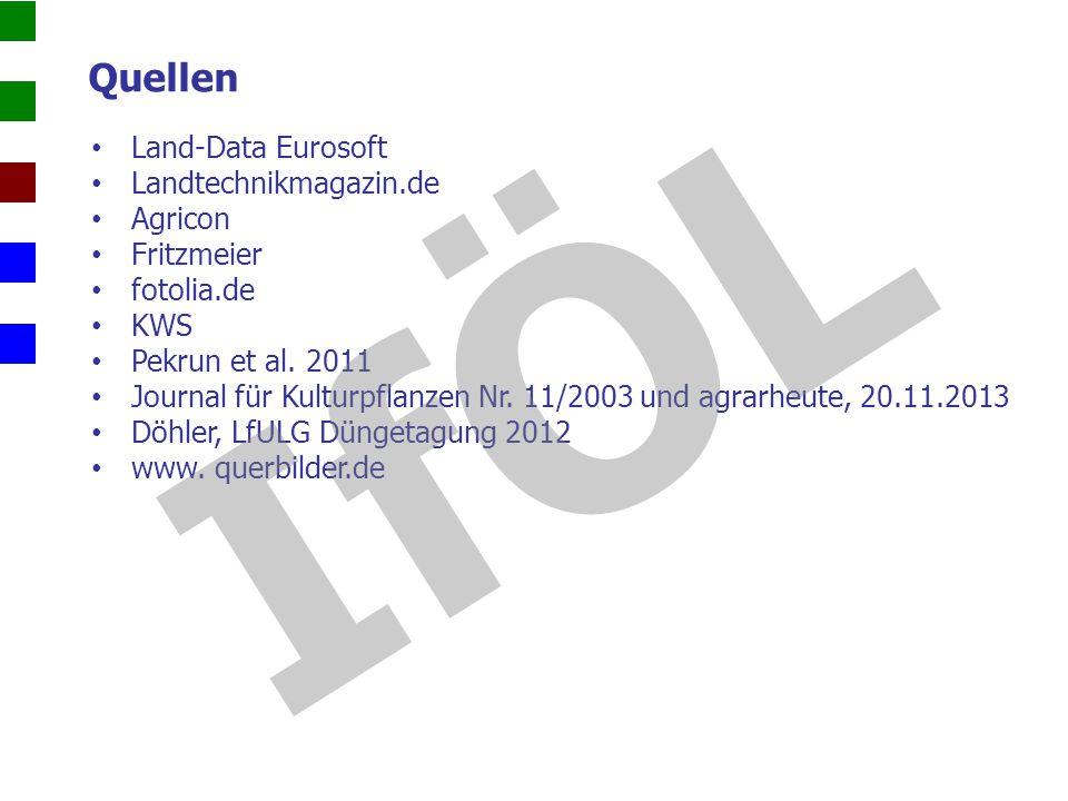 Land-Data Eurosoft Landtechnikmagazin.de Agricon Fritzmeier fotolia.de KWS Pekrun et al. 2011 Journal für Kulturpflanzen Nr. 11/2003 und agrarheute, 2