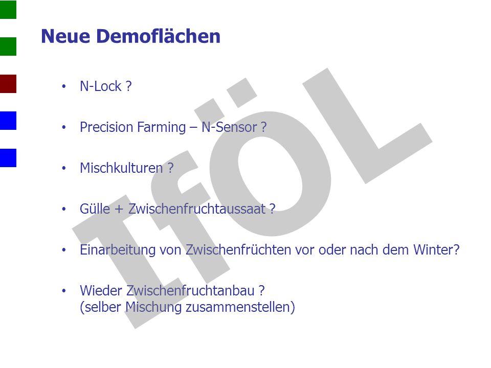 Neue Demoflächen N-Lock ? Precision Farming – N-Sensor ? Mischkulturen ? Gülle + Zwischenfruchtaussaat ? Einarbeitung von Zwischenfrüchten vor oder na