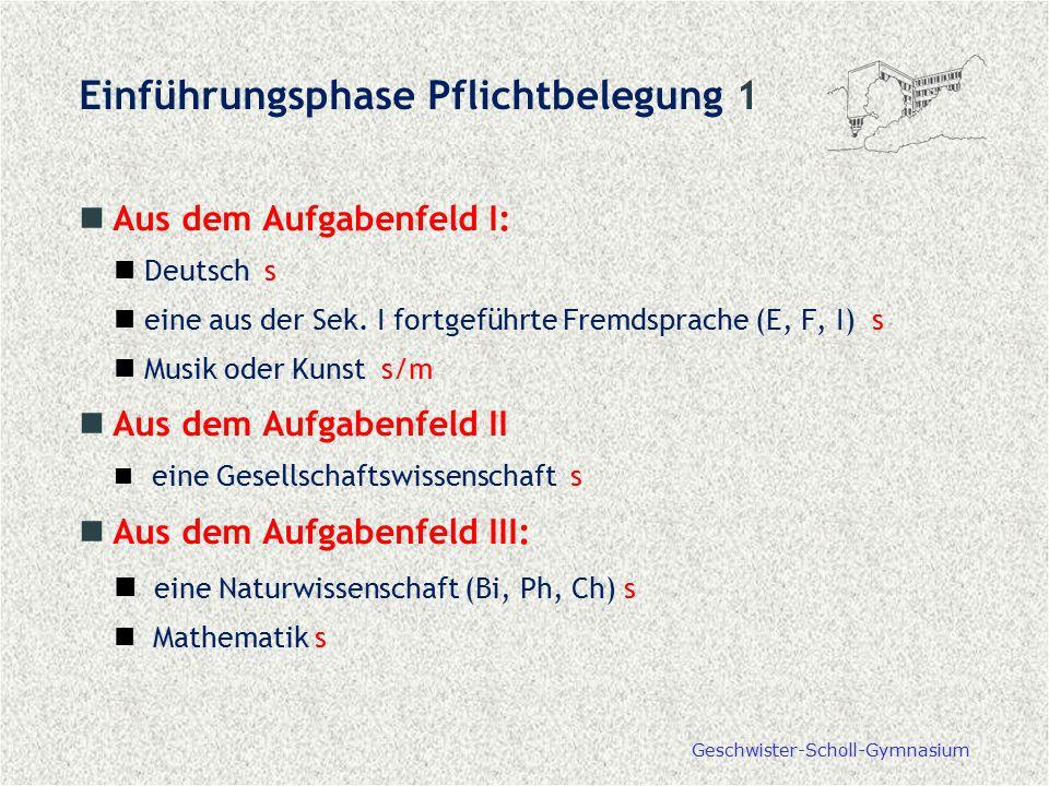 Geschwister-Scholl-Gymnasium Aus dem Aufgabenfeld I: Deutsch s eine aus der Sek. I fortgeführte Fremdsprache (E, F, I) s Musik oder Kunst s/m Aus dem