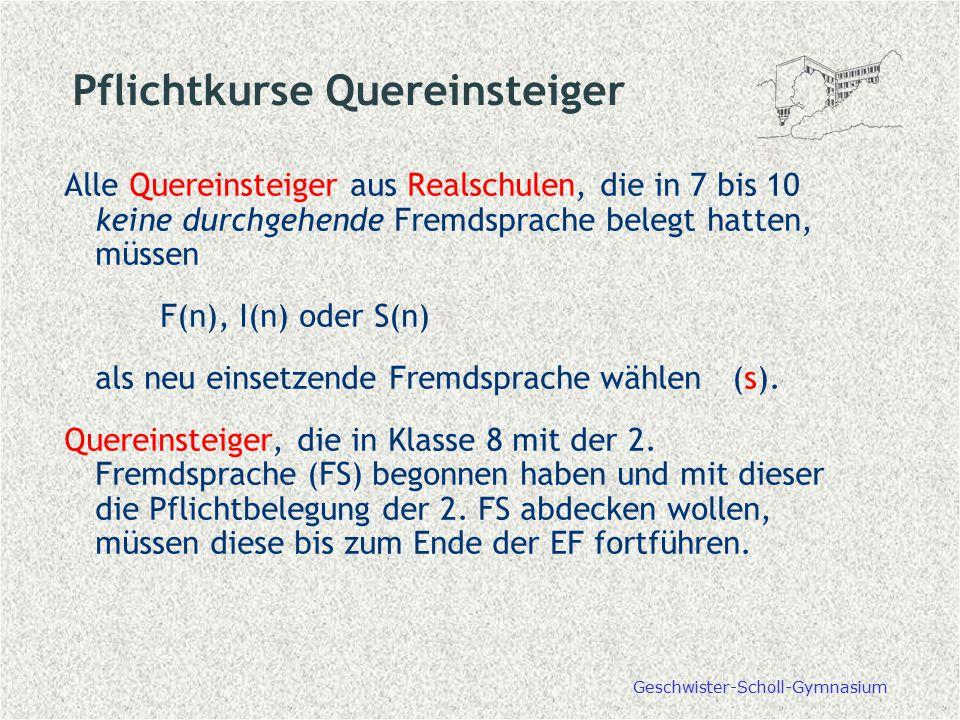 Pflichtkurse Quereinsteiger Alle Quereinsteiger aus Realschulen, die in 7 bis 10 keine durchgehende Fremdsprache belegt hatten, müssen F(n), I(n) oder