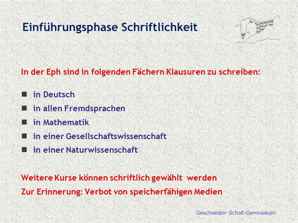 Geschwister-Scholl-Gymnasium Einführungsphase Schriftlichkeit In der Eph sind in folgenden Fächern Klausuren zu schreiben: in Deutsch in allen Fremdsp