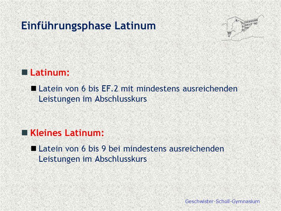 Geschwister-Scholl-Gymnasium Einführungsphase Latinum Latinum: Latein von 6 bis EF.2 mit mindestens ausreichenden Leistungen im Abschlusskurs Kleines