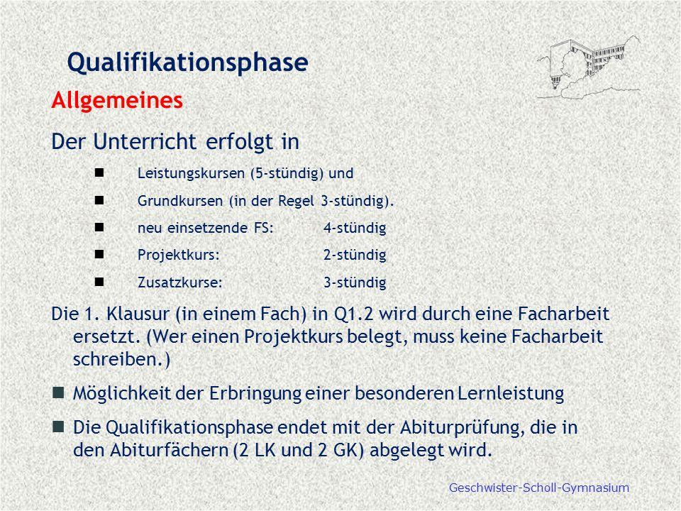 Geschwister-Scholl-Gymnasium Qualifikationsphase Allgemeines Der Unterricht erfolgt in Leistungskursen (5-stündig) und Grundkursen (in der Regel 3-stü