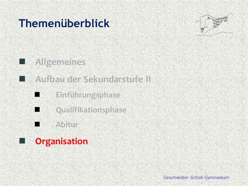 Geschwister-Scholl-Gymnasium Themenüberblick Allgemeines Aufbau der Sekundarstufe II Einführungsphase Qualifikationsphase Abitur Organisation