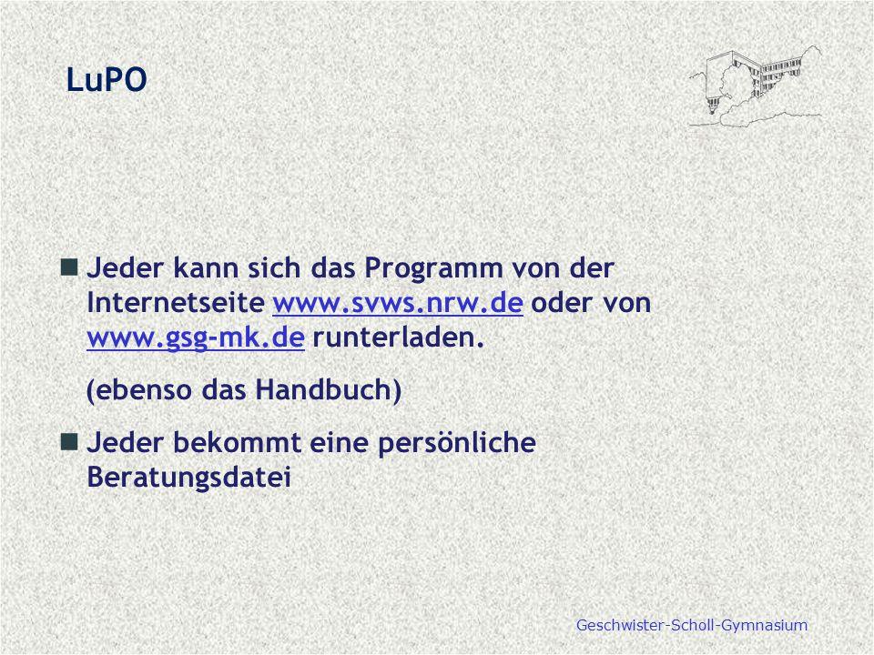 Jeder kann sich das Programm von der Internetseite www.svws.nrw.de oder von www.gsg-mk.de runterladen.www.svws.nrw.de www.gsg-mk.de (ebenso das Handbu