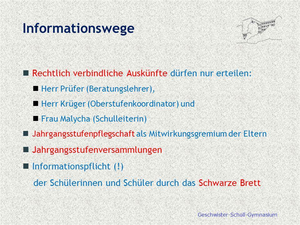 Geschwister-Scholl-Gymnasium Informationswege Rechtlich verbindliche Auskünfte dürfen nur erteilen: Herr Prüfer (Beratungslehrer), Herr Krüger (Oberst