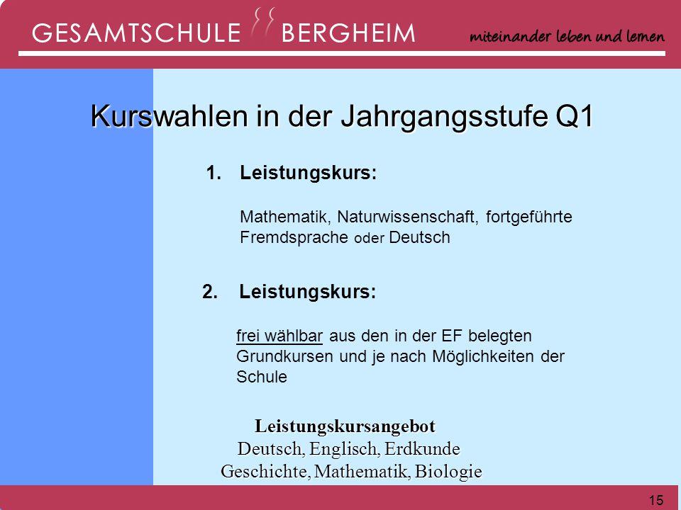15 1.1.Leistungskurs: Mathematik, Naturwissenschaft, fortgeführte Fremdsprache oder Deutsch 2.