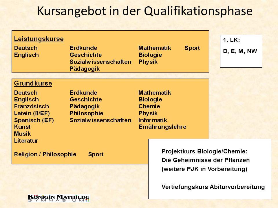 Kursangebot in der Qualifikationsphase Projektkurs Biologie/Chemie: Die Geheimnisse der Pflanzen (weitere PJK in Vorbereitung) Vertiefungskurs Abiturv