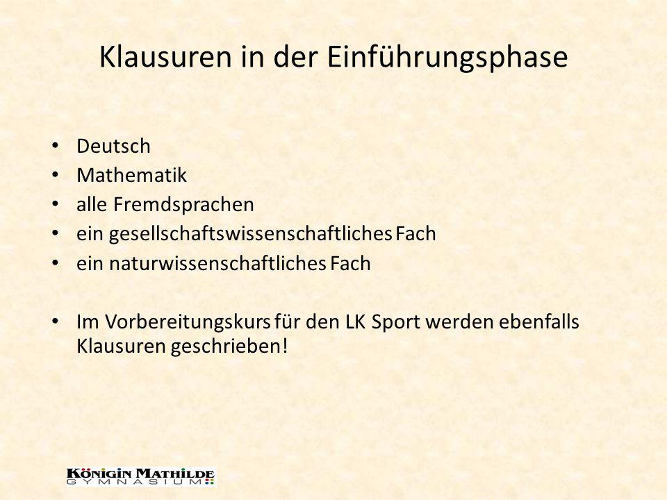 Klausuren in der Qualifikationsphase die vier Abiturfächer Wenn nicht schon erfasst: Deutsch Mathematik Fremdsprache (in einer neu einsetzenden immer) eine weitere Fremdsprache oder eine weitere Naturwissenschaft Sonderregelungen im letzten Halbjahr!