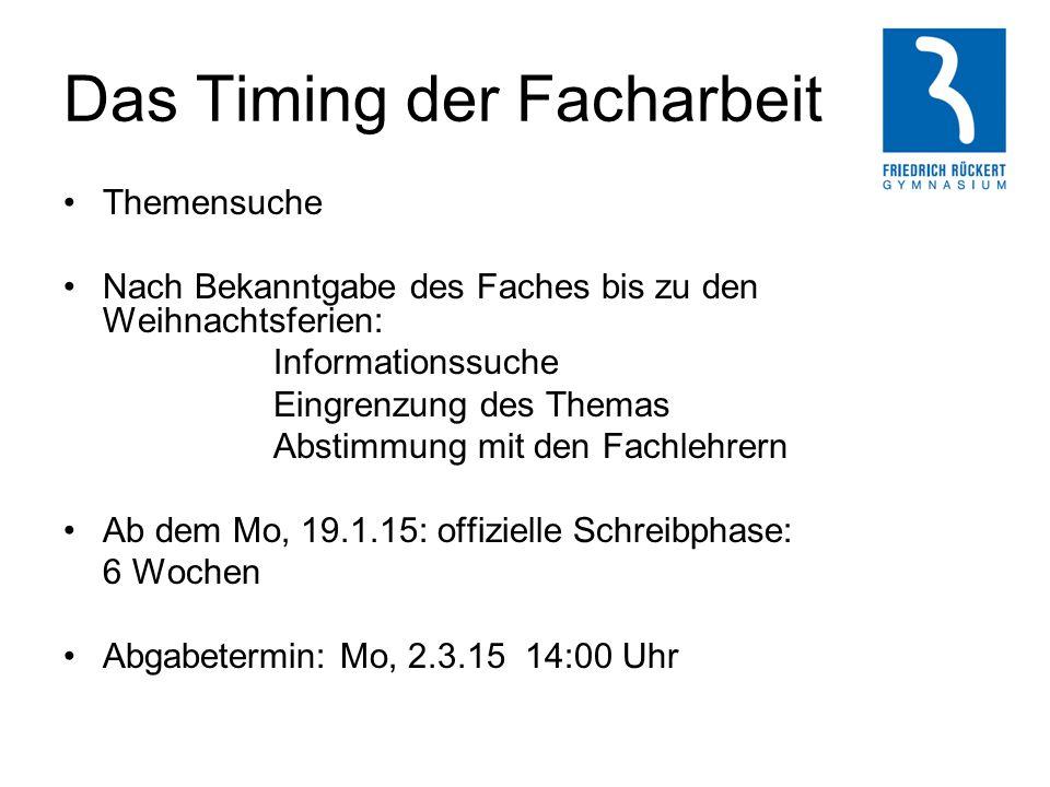 Das Timing der Facharbeit Themensuche Nach Bekanntgabe des Faches bis zu den Weihnachtsferien: Informationssuche Eingrenzung des Themas Abstimmung mit