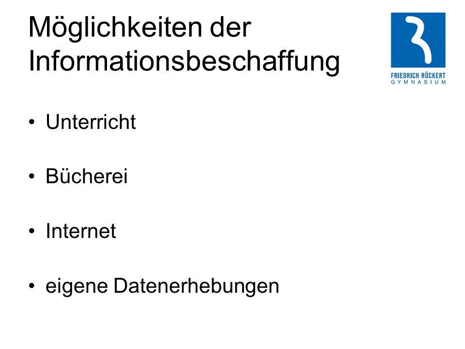 Möglichkeiten der Informationsbeschaffung Unterricht Bücherei Internet eigene Datenerhebungen