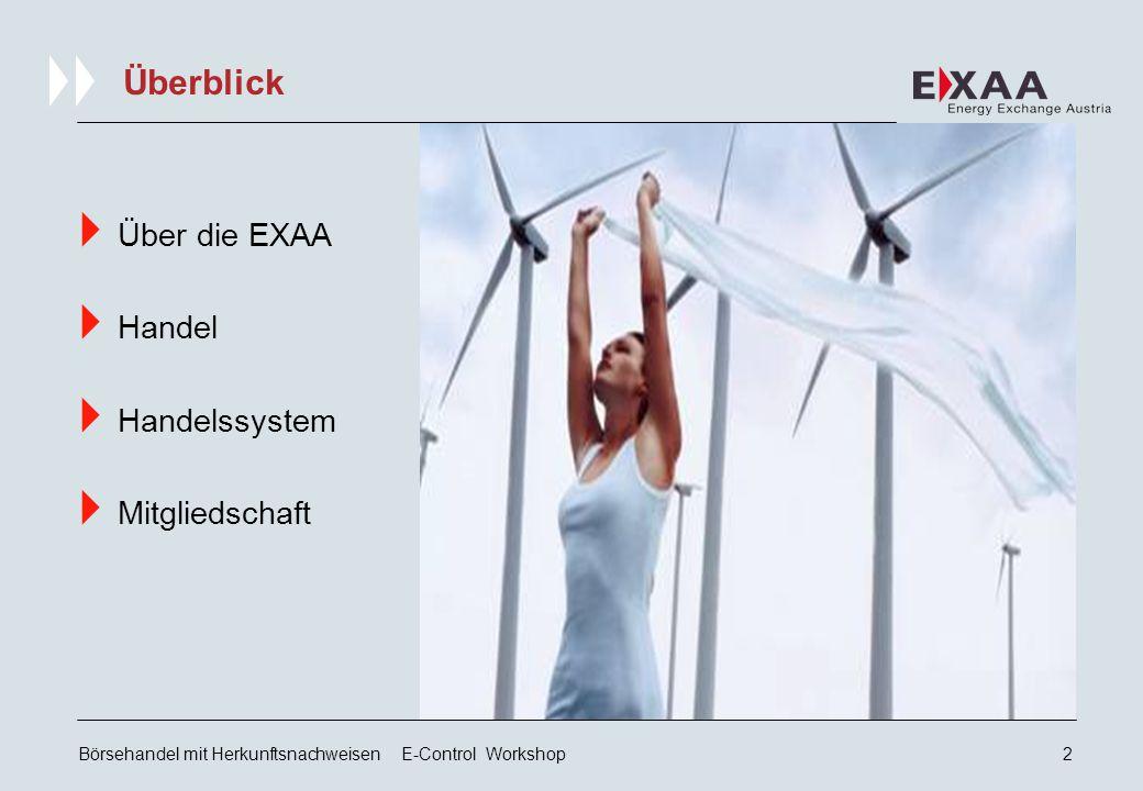 Börsehandel mit Herkunftsnachweisen E-Control Workshop2 Überblick  Über die EXAA  Handel  Handelssystem  Mitgliedschaft