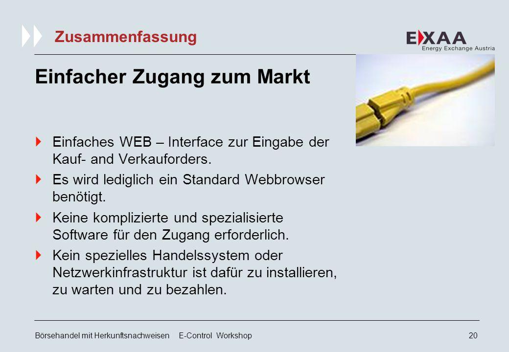 Börsehandel mit Herkunftsnachweisen E-Control Workshop19 Gebühren Geschäftsgebühr je Kto.