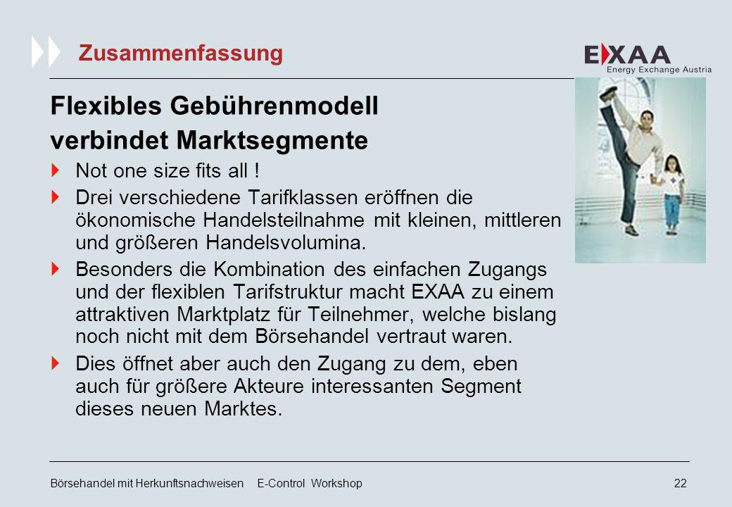Börsehandel mit Herkunftsnachweisen E-Control Workshop21 Zusammenfassung Gesamtlösung im Paket  EXAA deckt für alle Handelsteilnehmer das Kontrahentenrisiko vollständig als s.g.