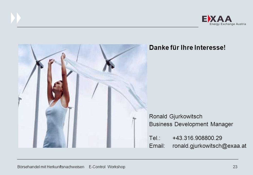 Börsehandel mit Herkunftsnachweisen E-Control Workshop22 Zusammenfassung Flexibles Gebührenmodell verbindet Marktsegmente  Not one size fits all .