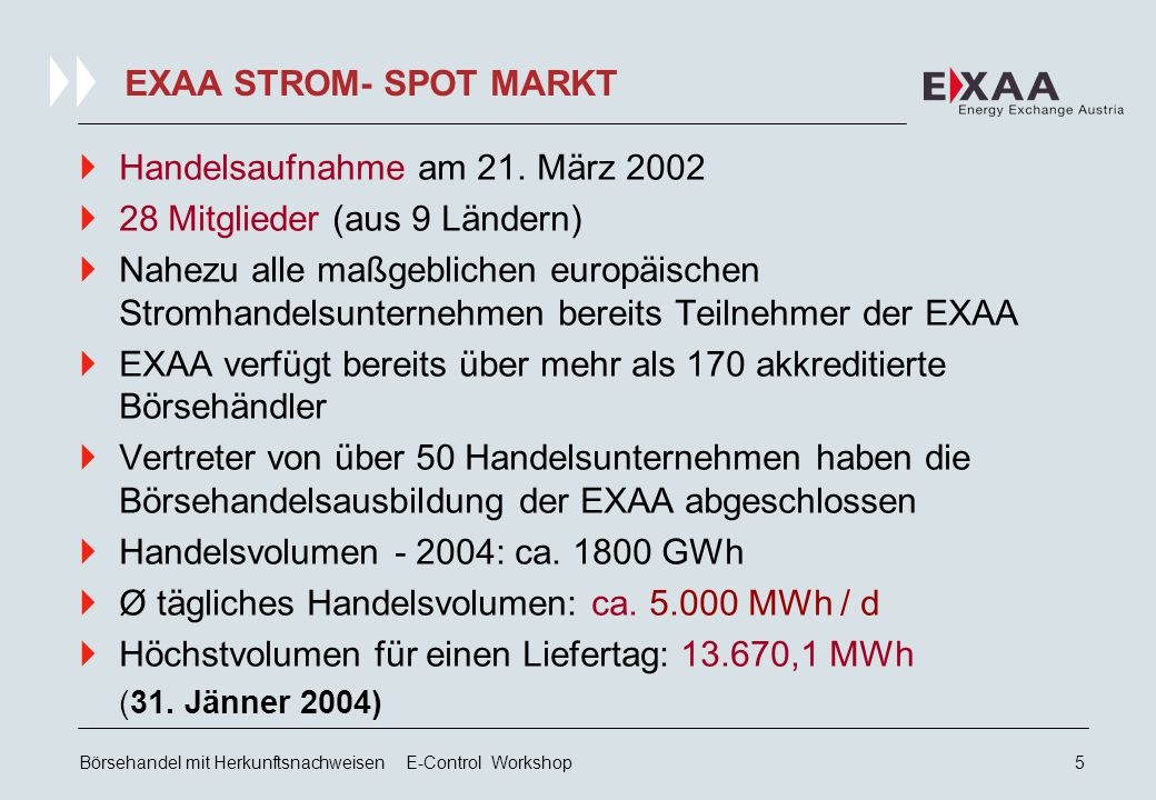 Börsehandel mit Herkunftsnachweisen E-Control Workshop4 AKTIONÄRE DER EXAA