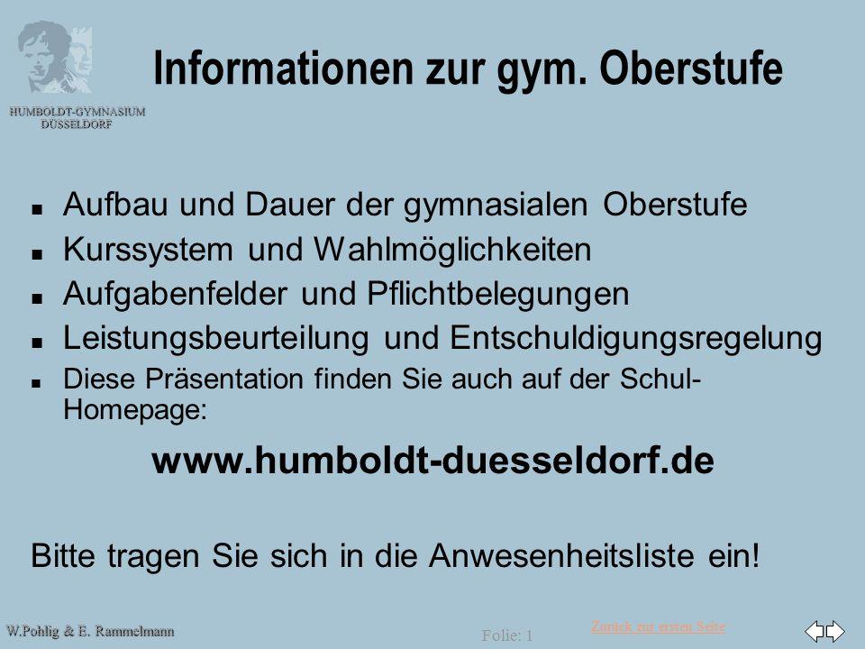 Zurück zur ersten Seite W.Pohlig & E. Rammelmann HUMBOLDT-GYMNASIUM DÜSSELDORF Folie: 1 Informationen zur gym. Oberstufe n n Aufbau und Dauer der gymn