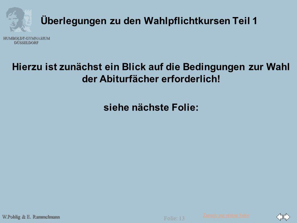 Zurück zur ersten Seite W.Pohlig & E. Rammelmann HUMBOLDT-GYMNASIUM DÜSSELDORF Folie: 13 Überlegungen zu den Wahlpflichtkursen Teil 1 Hierzu ist zunäc