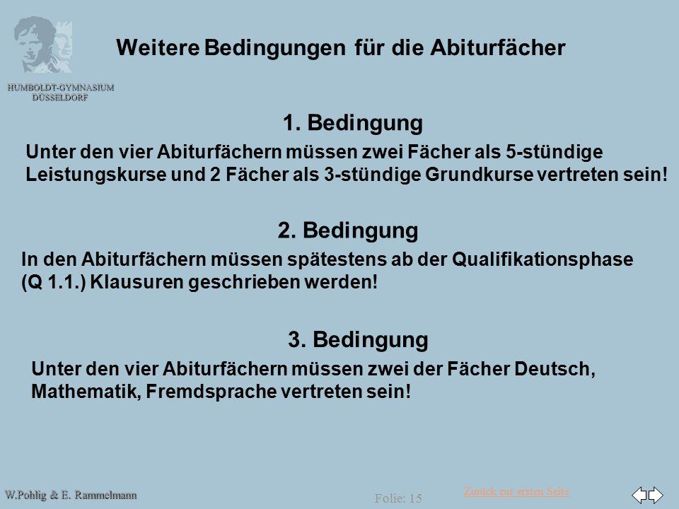 Zurück zur ersten Seite W.Pohlig & E. Rammelmann HUMBOLDT-GYMNASIUM DÜSSELDORF Folie: 15 Weitere Bedingungen für die Abiturfächer 1. Bedingung Unter d
