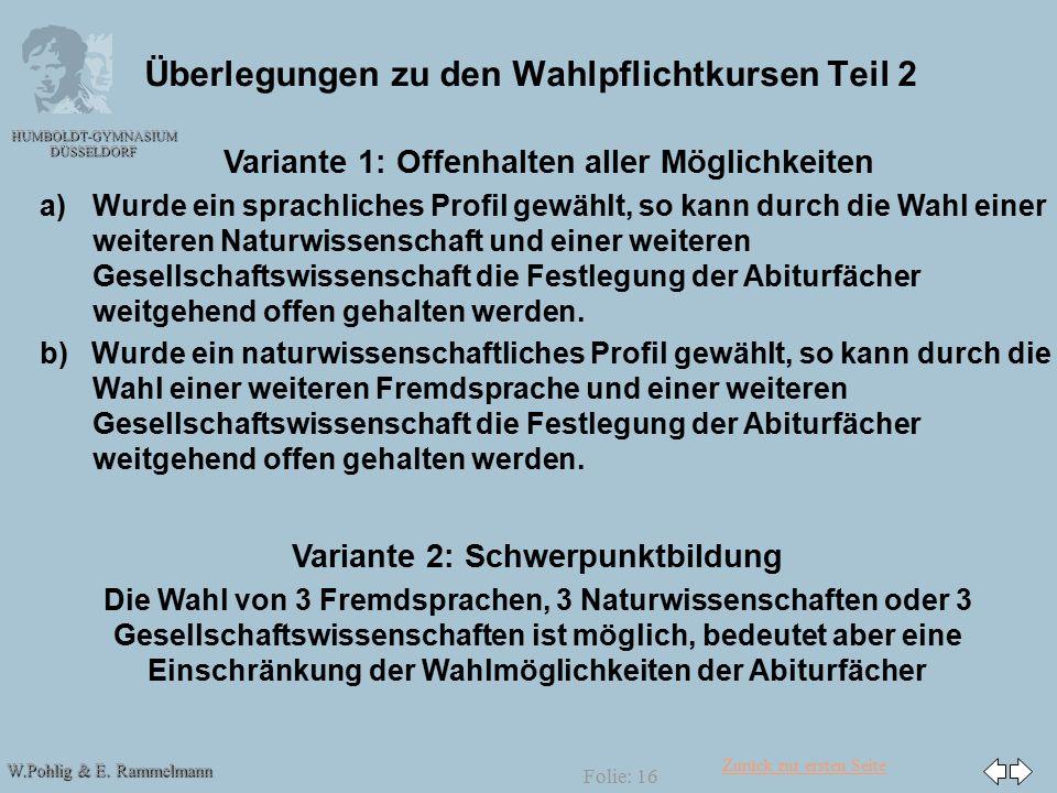 Zurück zur ersten Seite W.Pohlig & E. Rammelmann HUMBOLDT-GYMNASIUM DÜSSELDORF Folie: 16 Überlegungen zu den Wahlpflichtkursen Teil 2 Variante 1: Offe
