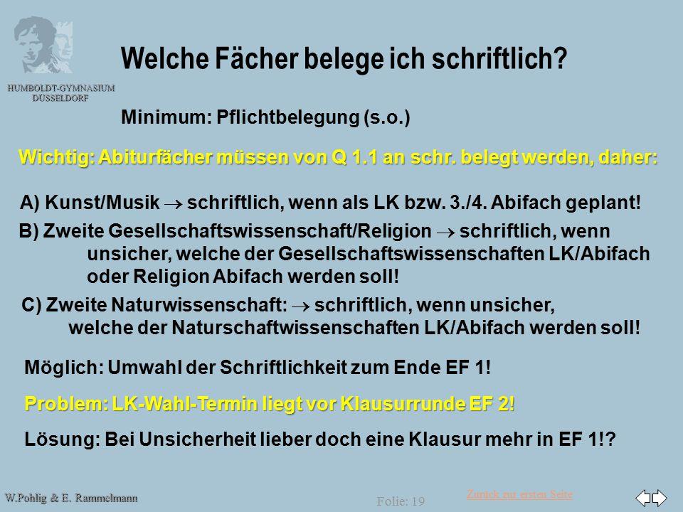 Zurück zur ersten Seite W.Pohlig & E. Rammelmann HUMBOLDT-GYMNASIUM DÜSSELDORF Folie: 19 Welche Fächer belege ich schriftlich? Minimum: Pflichtbelegun