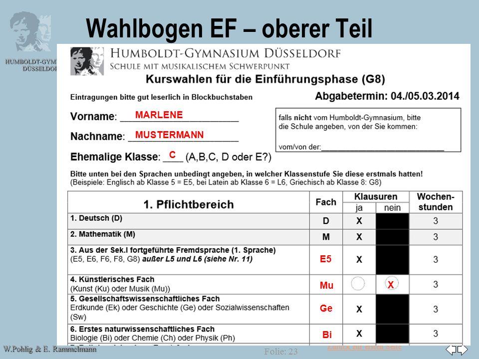 Zurück zur ersten Seite W.Pohlig & E. Rammelmann HUMBOLDT-GYMNASIUM DÜSSELDORF Folie: 23 Wahlbogen EF – oberer Teil MARLENE MUSTERMANN C E5 Mu X Ge Bi