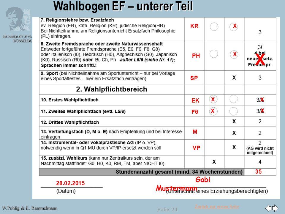 Zurück zur ersten Seite W.Pohlig & E. Rammelmann HUMBOLDT-GYMNASIUM DÜSSELDORF Folie: 24 EF – unterer Teil Wahlbogen EF – unterer Teil KRX PH X EK X F