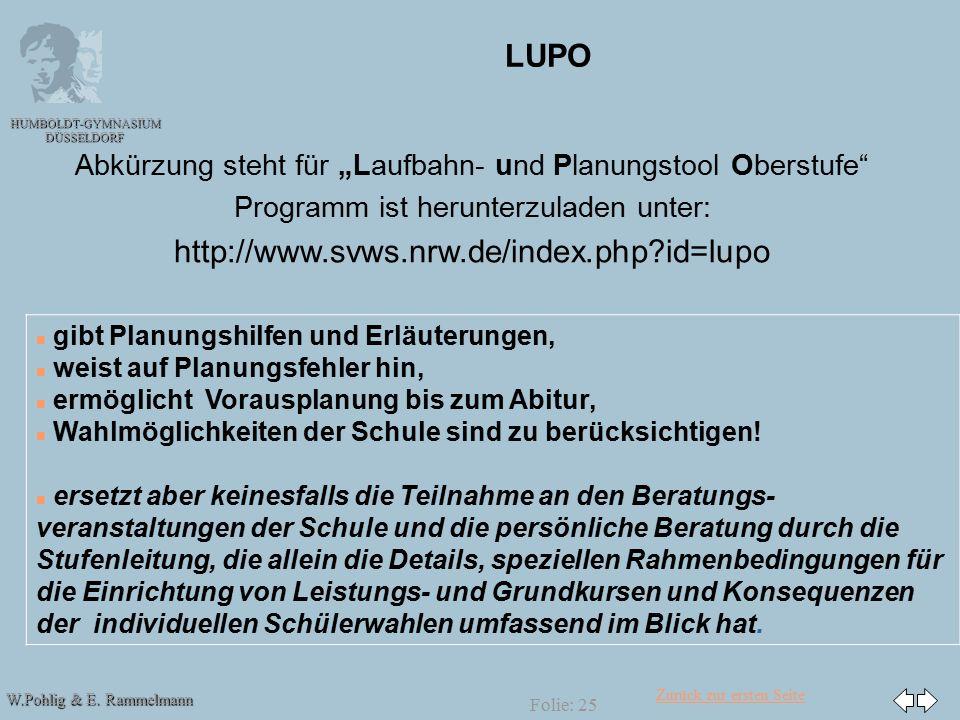 """Zurück zur ersten Seite W.Pohlig & E. Rammelmann HUMBOLDT-GYMNASIUM DÜSSELDORF Folie: 25 LUPO Abkürzung steht für """"Laufbahn- und Planungstool Oberstuf"""