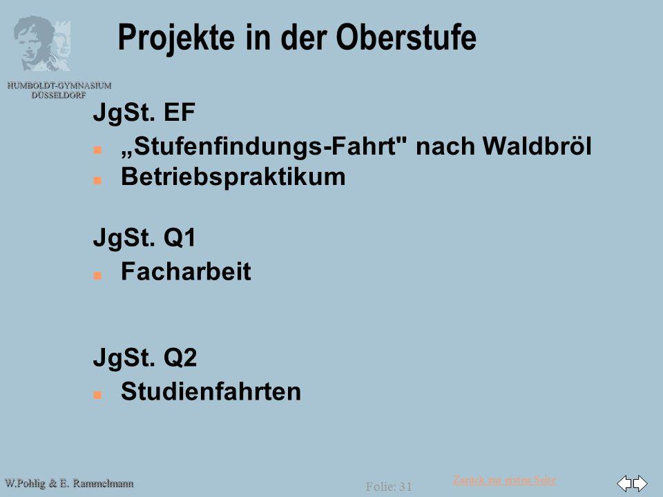 """Zurück zur ersten Seite W.Pohlig & E. Rammelmann HUMBOLDT-GYMNASIUM DÜSSELDORF Folie: 31 Projekte in der Oberstufe JgSt. EF n n """"Stufenfindungs-Fahrt"""