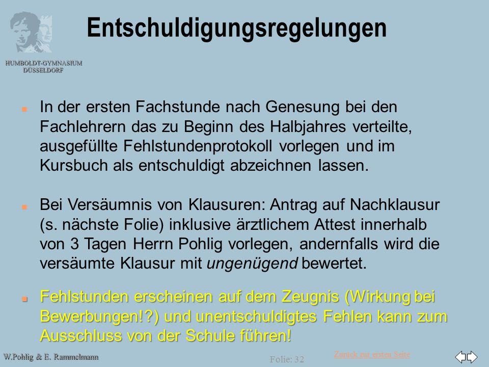 Zurück zur ersten Seite W.Pohlig & E. Rammelmann HUMBOLDT-GYMNASIUM DÜSSELDORF Folie: 32 Entschuldigungsregelungen n In der ersten Fachstunde nach Gen