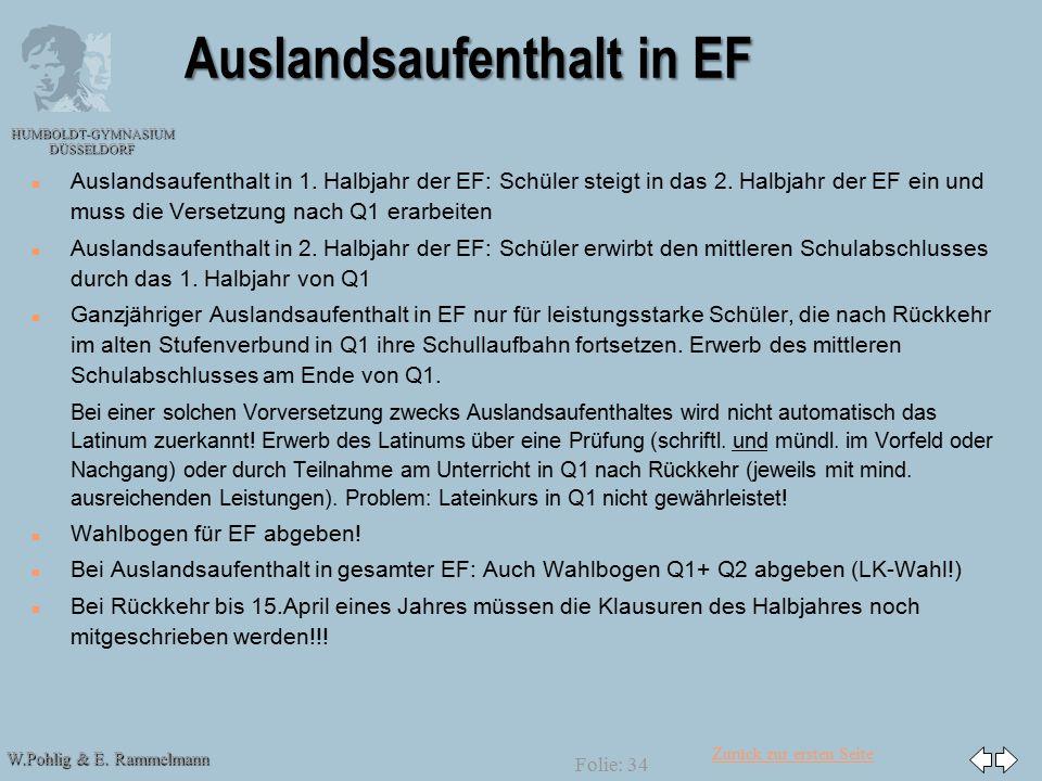 Zurück zur ersten Seite W.Pohlig & E. Rammelmann HUMBOLDT-GYMNASIUM DÜSSELDORF Folie: 34 Auslandsaufenthalt in EF n n Auslandsaufenthalt in 1. Halbjah