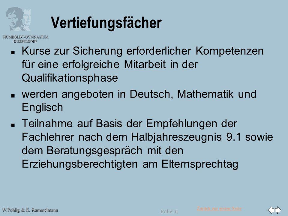 Zurück zur ersten Seite W.Pohlig & E. Rammelmann HUMBOLDT-GYMNASIUM DÜSSELDORF Folie: 6 Vertiefungsfächer n n Kurse zur Sicherung erforderlicher Kompe