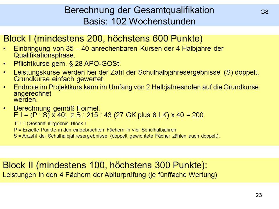 Berechnung der Gesamtqualifikation Basis: 102 Wochenstunden Block I (mindestens 200, höchstens 600 Punkte) Einbringung von 35 – 40 anrechenbaren Kursen der 4 Halbjahre der Qualifikationsphase.