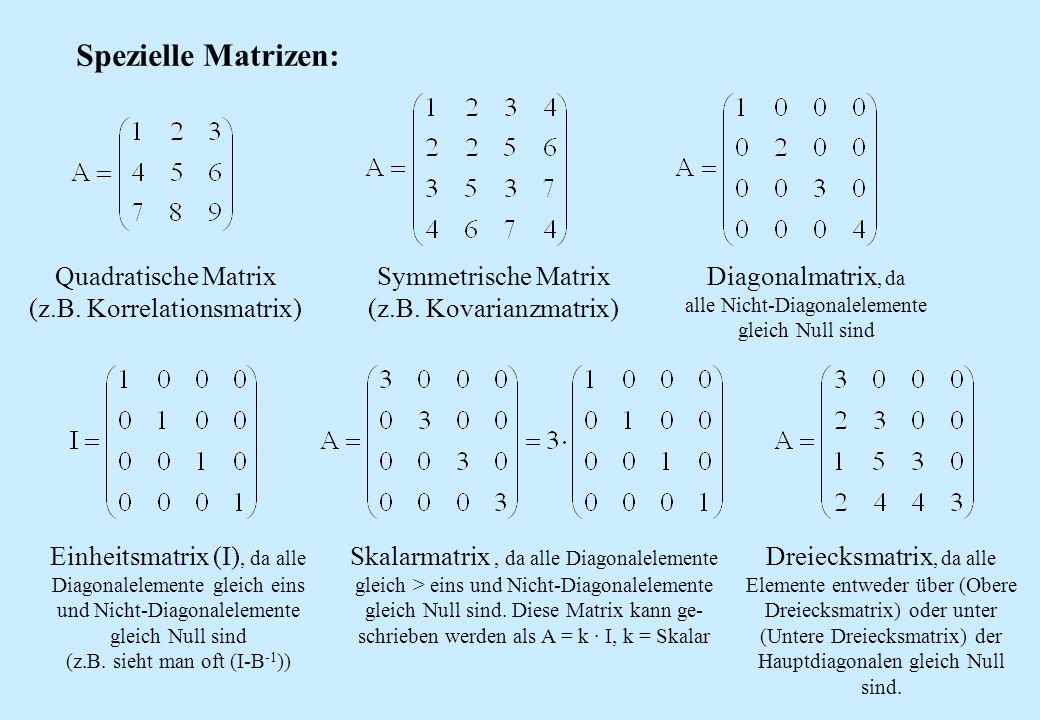 Spezielle Matrizen: Quadratische Matrix (z.B. Korrelationsmatrix) Symmetrische Matrix (z.B. Kovarianzmatrix) Diagonalmatrix, da alle Nicht-Diagonalele