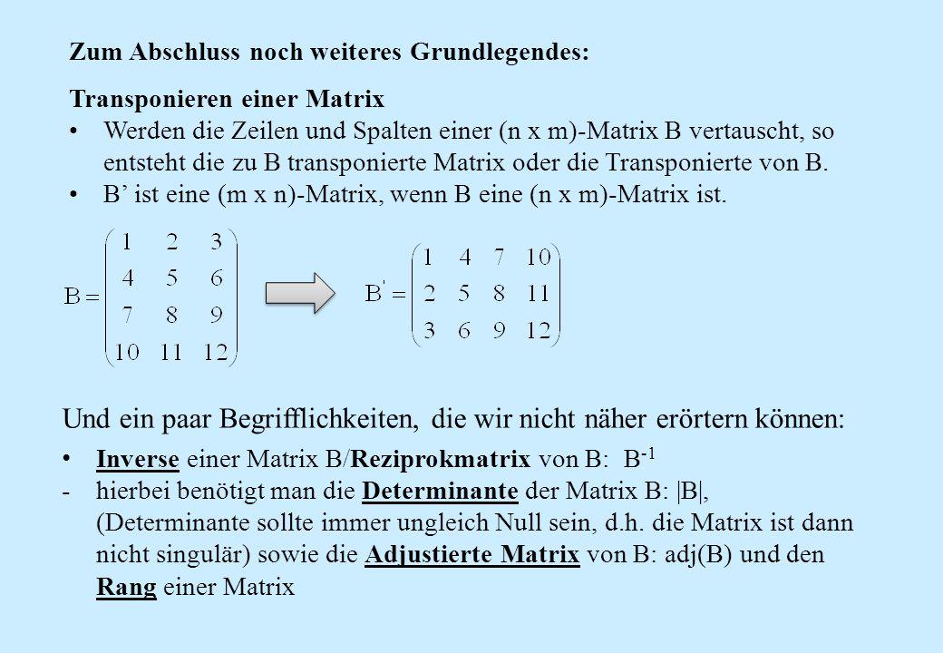 Zum Abschluss noch weiteres Grundlegendes: Transponieren einer Matrix Werden die Zeilen und Spalten einer (n x m)-Matrix B vertauscht, so entsteht die