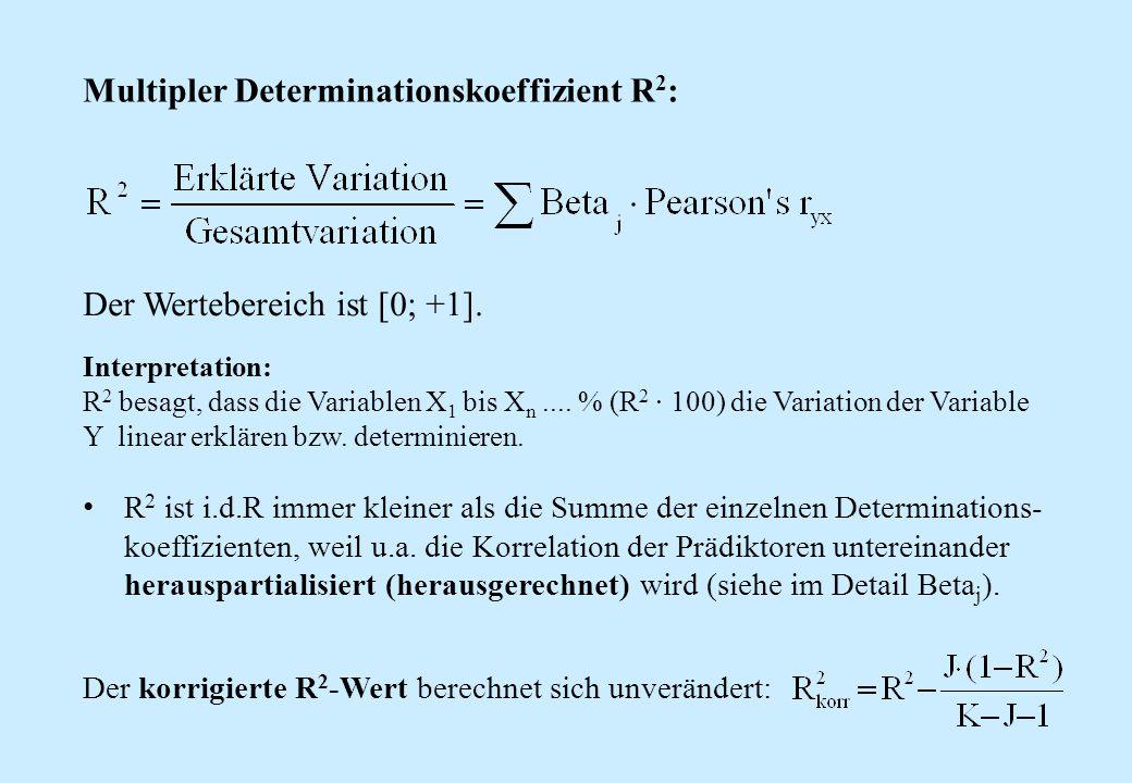 Multipler Determinationskoeffizient R 2 : Der Wertebereich ist [0; +1]. Interpretation: R 2 besagt, dass die Variablen X 1 bis X n.... % (R 2 ∙ 100) d