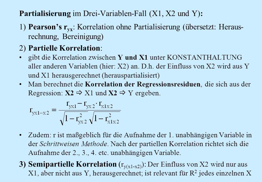 1)Pearson's r yx : Korrelation ohne Partialisierung (übersetzt: Heraus- rechnung, Bereinigung) 2)Partielle Korrelation: gibt die Korrelation zwischen