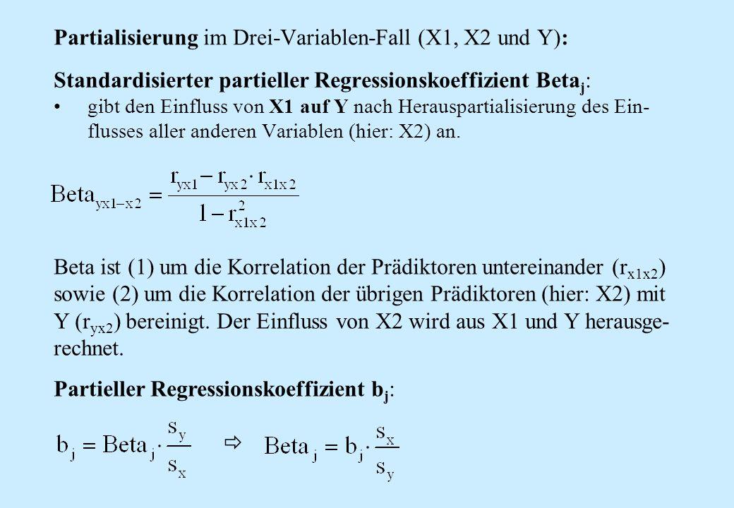Standardisierter partieller Regressionskoeffizient Beta j : gibt den Einfluss von X1 auf Y nach Herauspartialisierung des Ein- flusses aller anderen V