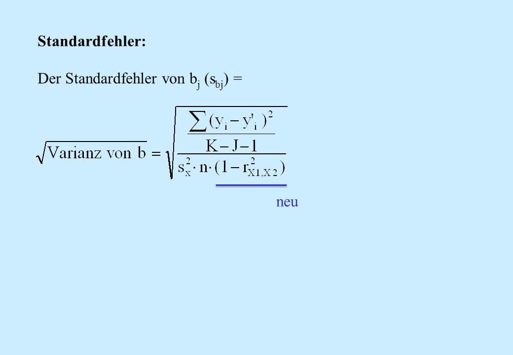 Der Standardfehler von b j (s bj ) = Standardfehler: neu