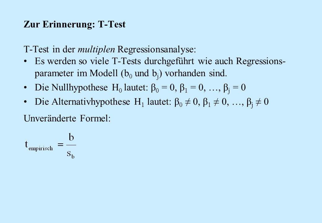 Zur Erinnerung: T-Test T-Test in der multiplen Regressionsanalyse: Es werden so viele T-Tests durchgeführt wie auch Regressions- parameter im Modell (