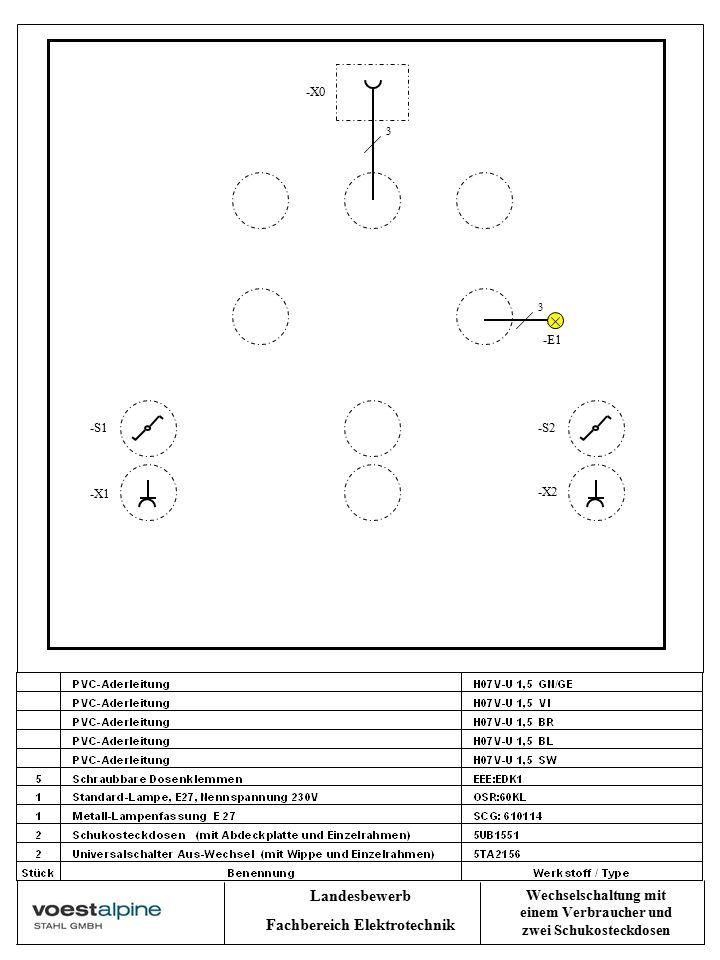 Landesbewerb Fachbereich Elektrotechnik Wechselschaltung mit einem Verbraucher und zwei Schukosteckdosen -E1 -X2 -X1 -S1-S2 3 3 -X0