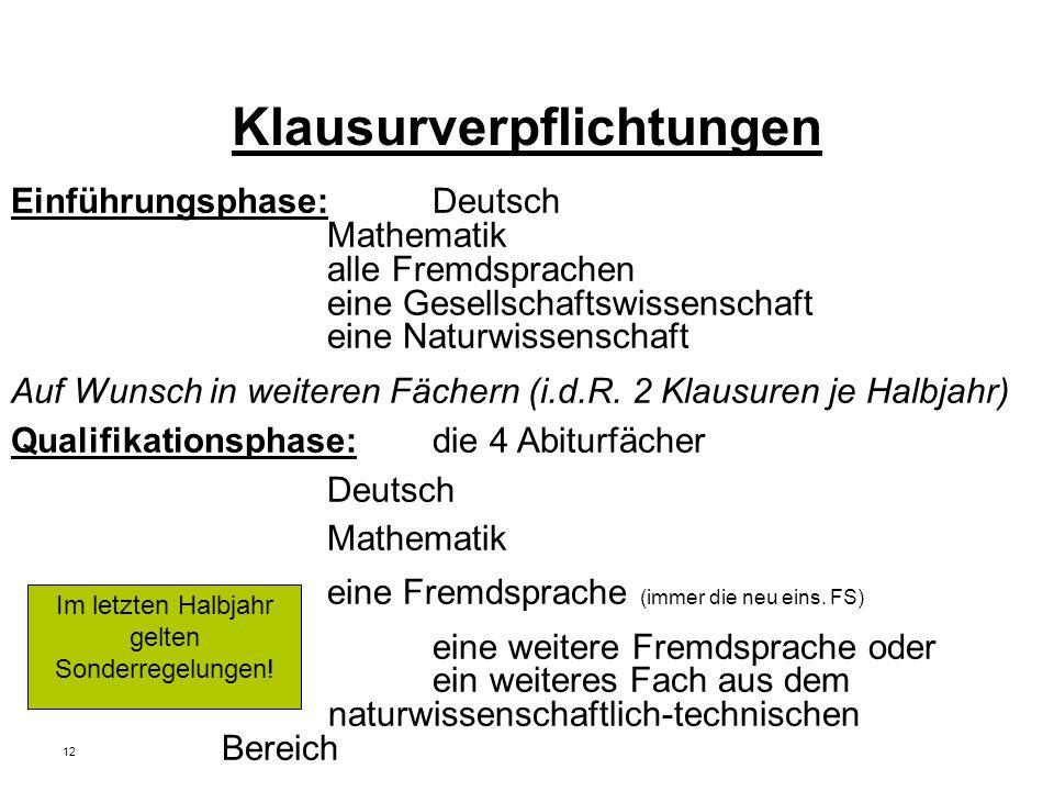 12 Klausurverpflichtungen Einführungsphase: Deutsch Mathematik alle Fremdsprachen eine Gesellschaftswissenschaft eine Naturwissenschaft Auf Wunsch in weiteren Fächern (i.d.R.