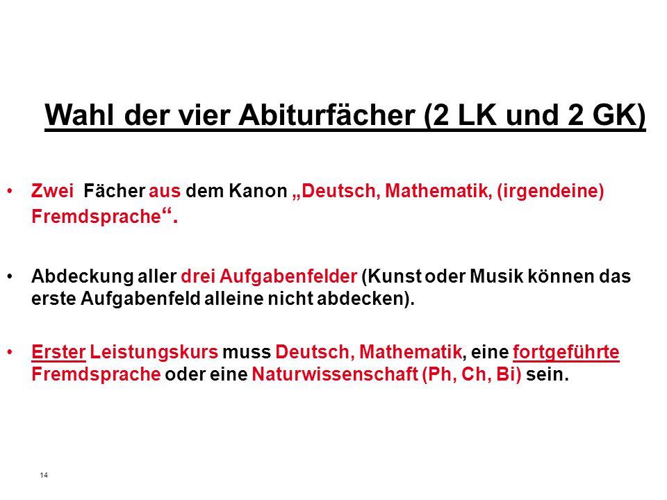"""14 Wahl der vier Abiturfächer (2 LK und 2 GK) Zwei Fächer aus dem Kanon """"Deutsch, Mathematik, (irgendeine) Fremdsprache ."""