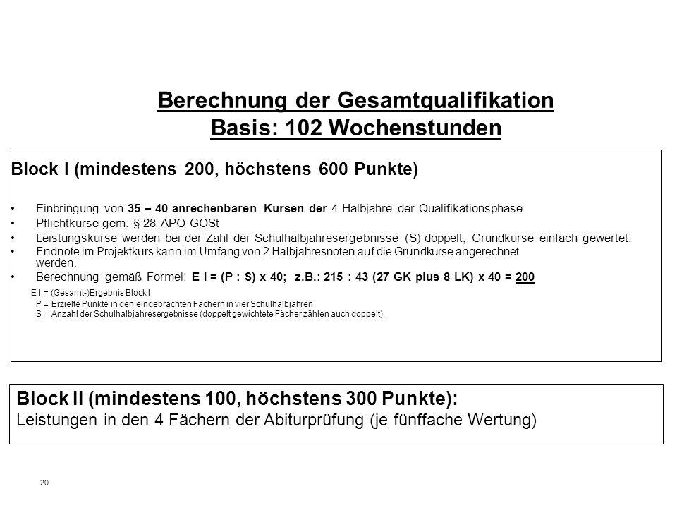20 Berechnung der Gesamtqualifikation Basis: 102 Wochenstunden Block I (mindestens 200, höchstens 600 Punkte) Einbringung von 35 – 40 anrechenbaren Kursen der 4 Halbjahre der Qualifikationsphase Pflichtkurse gem.