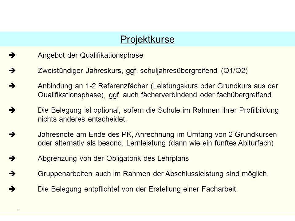 6  Angebot der Qualifikationsphase  Zweistündiger Jahreskurs, ggf.